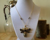 Gold and Onyx Bee Necklace - bug insect jewelry