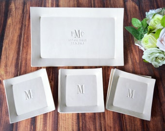 Personalized Wedding Gift, Anniversary Gift or Housewarming Gift - Rectangular Wedding Platter with Set of 6 Appetizer Plates - Gift Boxed