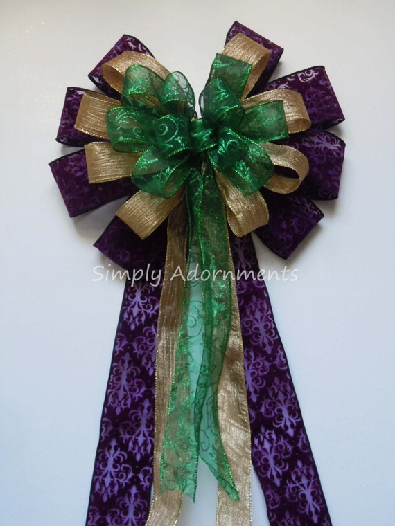 Purple Gold Green Bow Mardi Gras Wreath Bow Mardi Gras Door hanger bow Mardi Gras Christmas Tree Topper Bow Mardi Gras Party Decoration