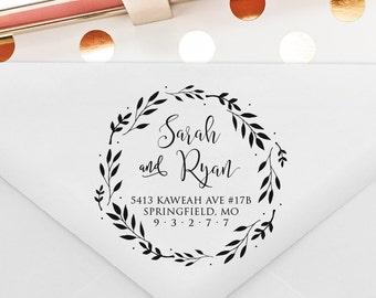Return Address Stamp, Wedding Stamp, Self Inking Stamp, Wood Stamp, Circle Stamp, Wreath Stamp, Housewarming Gift (T333)