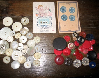 Vintage Lot of 50 Buttons - Red, White and Blue Vintage Buttons - 1930's, 1940's 1950's Vintage Buttons