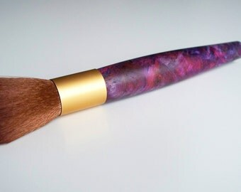 Hand-turned stabilized maple burl wood cosmetic brush