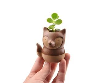 Tiny fox planter - animal planter, ceramic planter - made in Brazil
