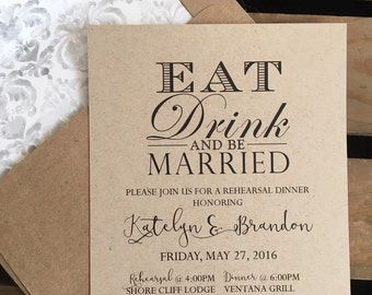 Eat Drink & Be Married - Rehearsal Dinner Invitation - CUSTOM - Watercolor Damask Lined Envelope - Wedding - Recycled - Eco - DIGITAL File
