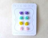 Tiny Rose Earrings. Spring Pastel Earrings. Small Flower Studs in Lavender, Mint Green, Yellow + Pink. Hypoallergenic Flower Stud Earrings