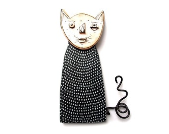 Black and White Cat Sculpture, Cat  wall sculpture, Ceramic Wall Art,  3D wall art, black and white cat, cute cat