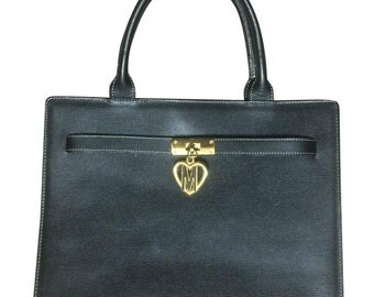 Vintage MOSCHINO black  leather tote bag in Kelly purse style with iconic M and heart charm.
