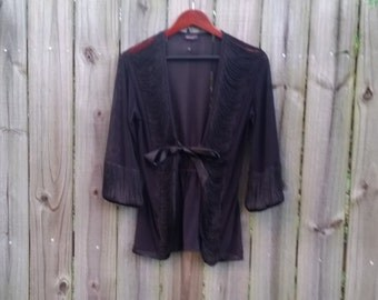 S M Small Medium Vintage 90s Black Sexy Sheer Grunge Gothic Lolita Pin-Up Romantic Lingerie Cover Up  Bed Jacket Cardigan