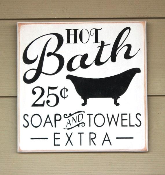 BATHROOM SIGN - Wooden bath sign - 12 x 12 -  Primitive bathroom sign - Painted wooden sign - Vintage bathroom - Bathroom decor - Hot Bath