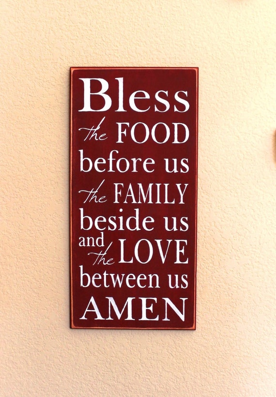 Bless the FOOD before us - Barn Red - Painted Wooden Sign - Blessing - Large - 12 x 24
