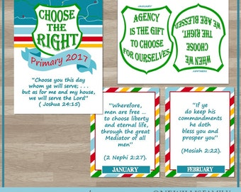 2017 Primary Scriptures and Theme Printables: Choose the Right, 8.5x11 and 11x17