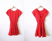 Vintage Red Sundress / Lace Up Dress / 90s Cotton Mini Dress / Corset Back