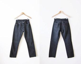 Levis 501 / Black Levi's 501s / Mom Jeans / Boyfriend Jeans / Vintage 501s / 26