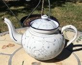 Exceptional Antique French Tea Pot, Antique Enamelware