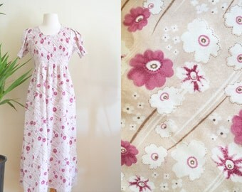 Cute 90s Does 70s Floral Dress with Pouf Sleeves, Flowy Folk Dress