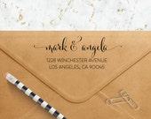 Custom Address Stamp - Flowing Hand Script - Self Inking Return Address Stamp