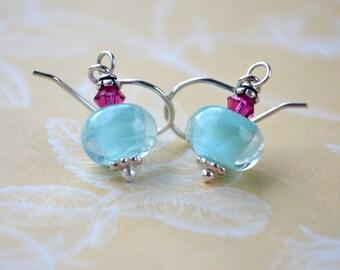 Aqua Earrings, Lampwork Earrings, Petite Earrings, Blue Dangle Earrings, Sterling Silver Earrings, Lampwork Jewelry, Aqua and Pink Wife Gift