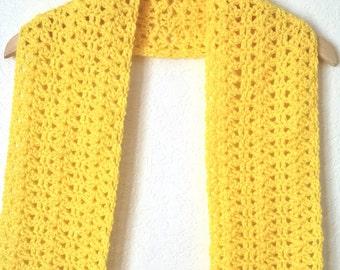 Crochet Lacy Scarf Lemon