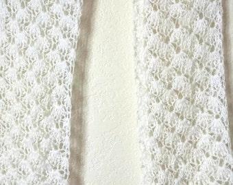 Crochet lace scarf soft white
