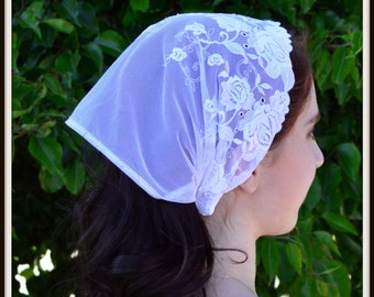 Christian Headcovering SCT31 - Christian Headcovering Headband Headscarf with Ties in White