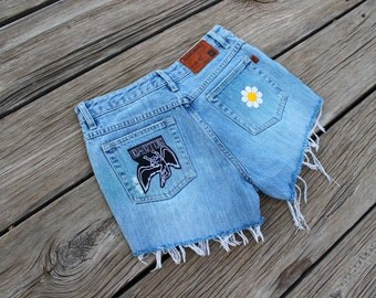 Led Zeppelin Daisy Flower Patch Distressed High Waisted Denim Shorts