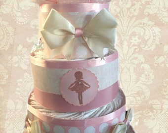 Baby Ballerina- Pink and Cream Baby Shower Diaper Cake Gift Set- 3 Tier