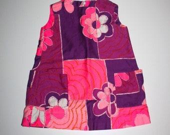 1970s GIRLS DRESS - Vintage Little Girl - Purple Pink Floral - Hipster Girl - Easter Dress -