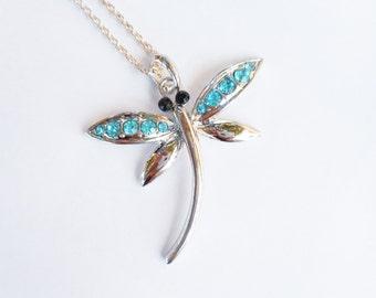 Blue dragonfly, dragonfly necklace, dragonfly necklaces, aqua blue dragonfly necklace, dragonfly jewelry,blue crystal dragonfly,aqua pendant