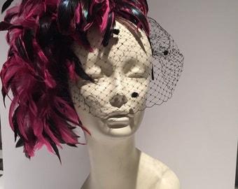 Hot pink fascinator- Veil Fascinator -Kentucky Derby Hat- Wedding fascinator- Pink Headdress - Pink fascinator- Feather headdress- Hat