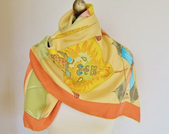 LONGCHAMPS silk scarf, square silk scarf, vintage scarves, warm colors, French silk scarf, coral, melon, hand rolled, large square scarf