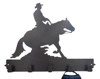 Cowboy Riding Metal Coat Rack and Hat Rack