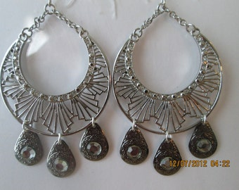 Silver Hoop Earrings with Clear Rhinestones and 3 Silver Tone and Crystal Charms Dangles on Silver Chains