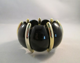 SALE Black and Gold Tone Lucite  Stretch Cuff Bracelet