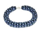 Hand Woven 6mm Dark Blue Czech Glass Pearl Bracelet with Metallic Toho seed beads, silver accent beads, Silver magnet Clasp