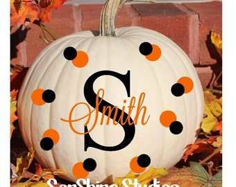 Pumpkin Decals - Lg Ltr w/ Name Overlay and dots - Stocked and Ready to Ship
