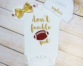 Football Baby Girl Ouftit Gold Glitter Dont Fumble Me Gold Bow Headband Gold Bow Football Leg Warmers Options Baby Girl Clothing