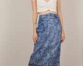 15% OFF 80s Acid Wash High Waisted Denim Midi Skirt