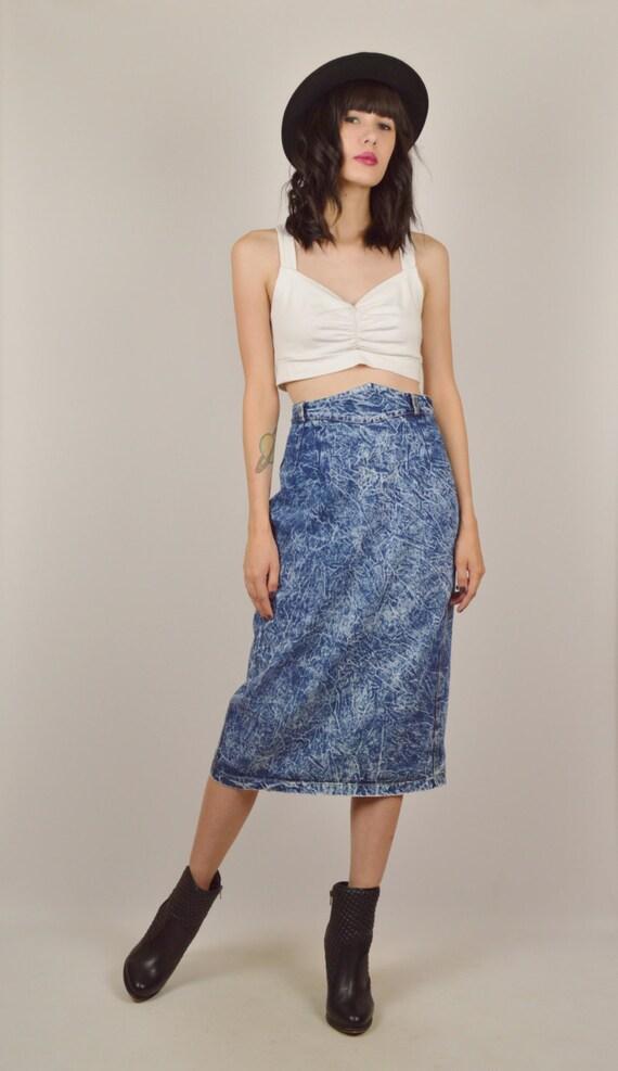 80s acid wash high waisted denim midi skirt