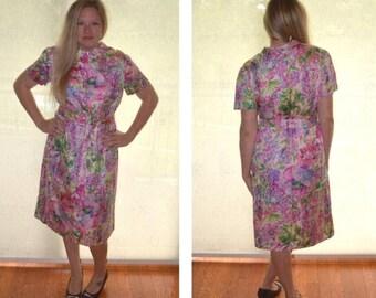Floral Print Dress, Size 18, Tanner of North Carolina Women's Vintage Dress, Short-Sleeved Dress, Long Dress, Ladies' Vintage Dress, Size 10