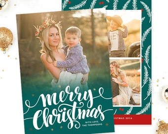 Christmas Card Template for Photographers, Christmas Photo Card Template for Photoshop, Holiday Card Templates, Photography Templates HC303