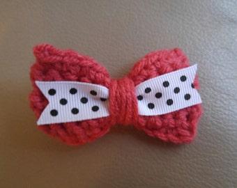 Crocheted Rose & Polka Dot Hair Bow
