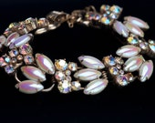 Reserved - Juliana D&E Link Bracelet Pearlized Iridescent Smooth Navette AB Rhinestone Delizza and Elster