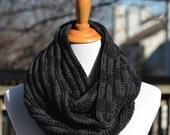 Crochet Textured Infinity Scarf -  Black and Gray