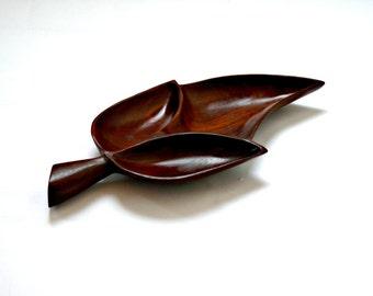 Mid-Century Teak Leaf Carved Dish
