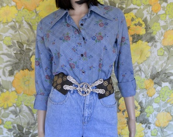 Ellie May - 70's bodysuit - western blouse  - denim with floral print -  collared button down bodysuit - full coverage bottom - denim top