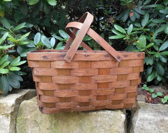Vintage Woven Splint Basket Market Picnic Basket Storage Organization Rustic Farmhouse Decor
