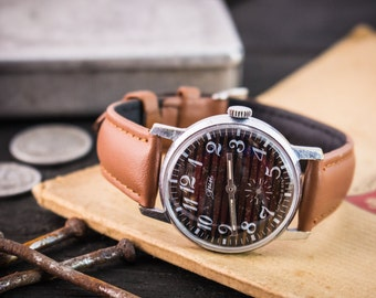 Vintage Zim mens watch with brown dial, vintage men's watch, soviet mechanical wrist watch, russian watch, cccp ussr, vintage russian watch