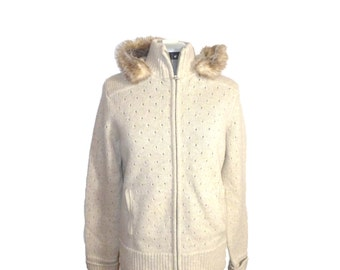 Beautiful oatmeal cream lambswool zip front / hoodie sweater with faux fur hood, M form fitting vintage Banana Republic wool