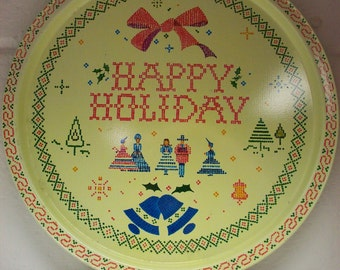 HAPPY HOLIDAY TRAY 1970's Christmas Sampler Metal Serving Snacks Drinks