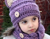 CROCHET PATTERN for Kasey Kitty Hat & Cowl Set - Toddler, Child and Adult sizes // Cat Kitten Hat Cowl Scarf
